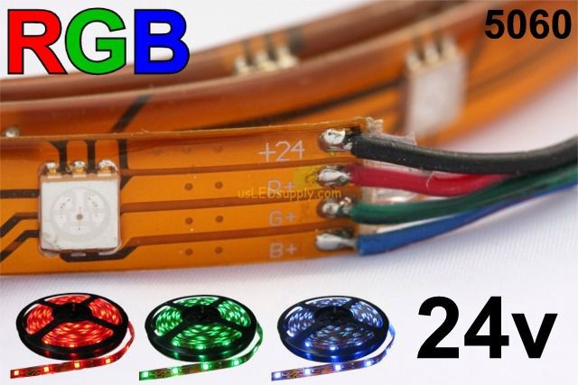 24V RGB Flexible LED Strip Waterproof 16' Roll IP-68 (IP-65 pictured)