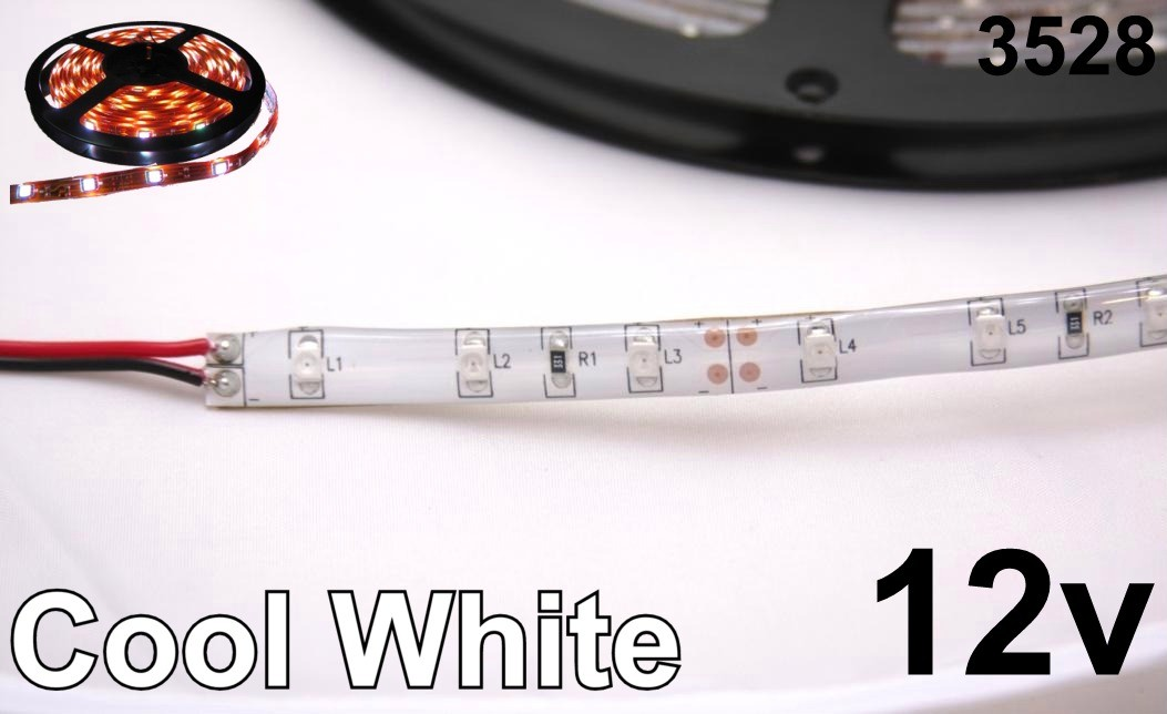 12V Cool White 3528 Flexible LED Strip 16' Roll