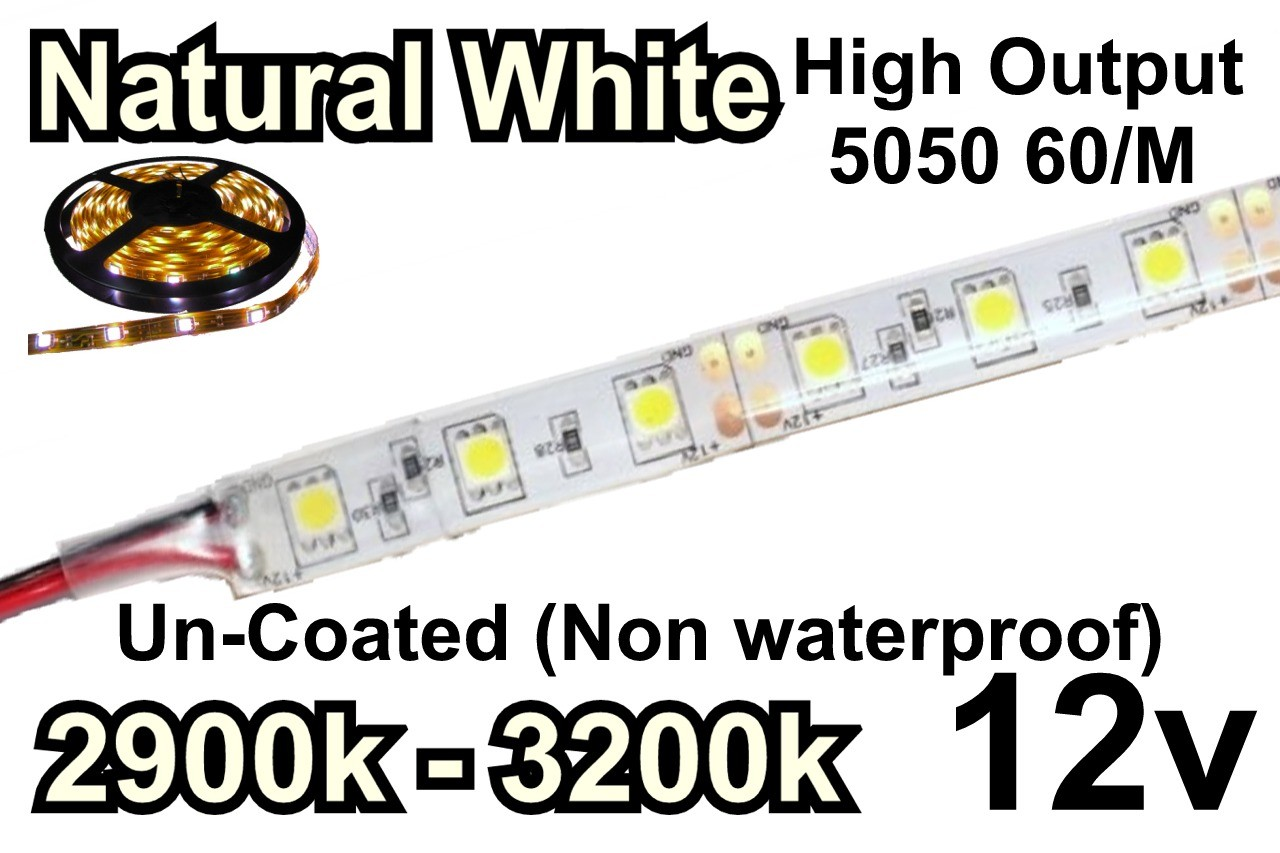 12V Natural White Flexible LED Strip (High Output) 60/M 300/Roll 2900k-3200k Un-Coated (Non waterproof)