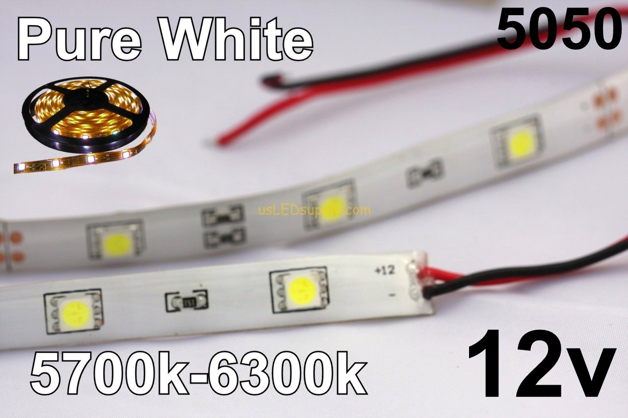 12v Pure/Cool White Flexible LED Strip (IP-65) 30/M 150/Roll 5700k-6300K
