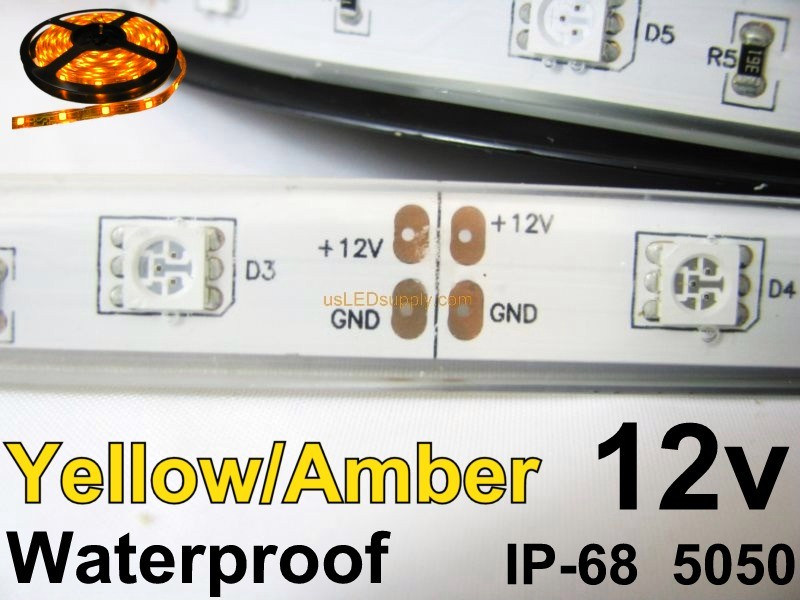 12V Yellow/Amber Waterproof Flexible LED Strip 16' Roll