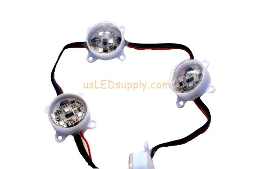 "12V LED RGB Digital Point Modules Round 3-Led 45mm w/Lens (6"" Spacing) (WS2801 Chip)"