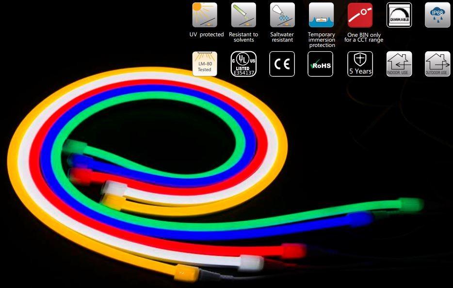 24v Neon Flex Rope Red 16' Roll (IP-68) (120/M 600/Roll)