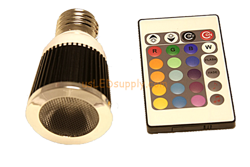 5w RGB LED Light With Remote 120v (EU-27 Base)