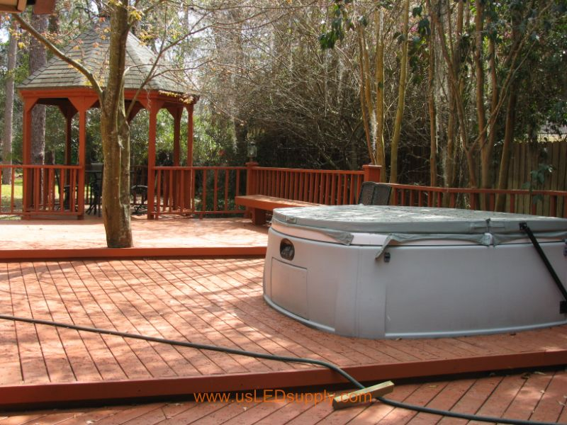 This is another view angle of this deck, including the hot tub.