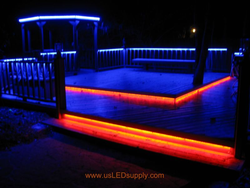 Marvelous RGB Flexible LED Strips Lighting Up An Outside Deck At Their Full  Brightness.