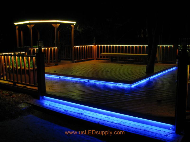 Led deck lights rgb flexible led strips lighting up an outside deck changing colors mozeypictures Images
