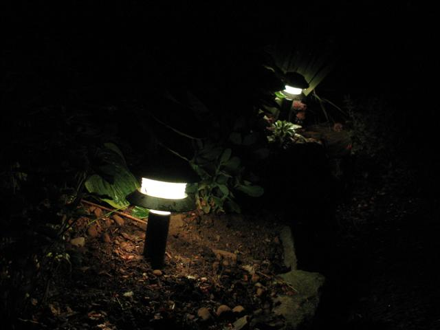 Old Garden Path Lights refurbished with color changing RGB LED Modules.