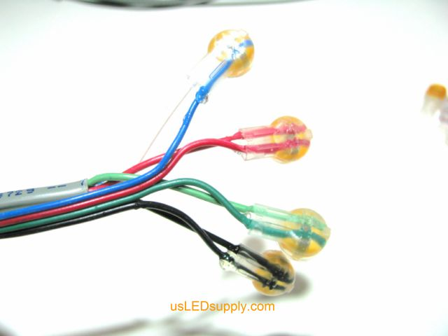 Butt connectors connecting control cable to wires on the end of RGB flexible LED Strip