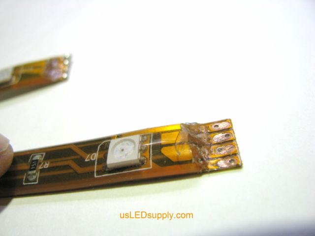 Coating peeled off of the end of flexible LED strip