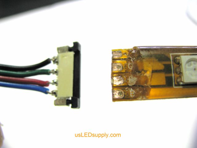 Insert LED strip into splice connector opening