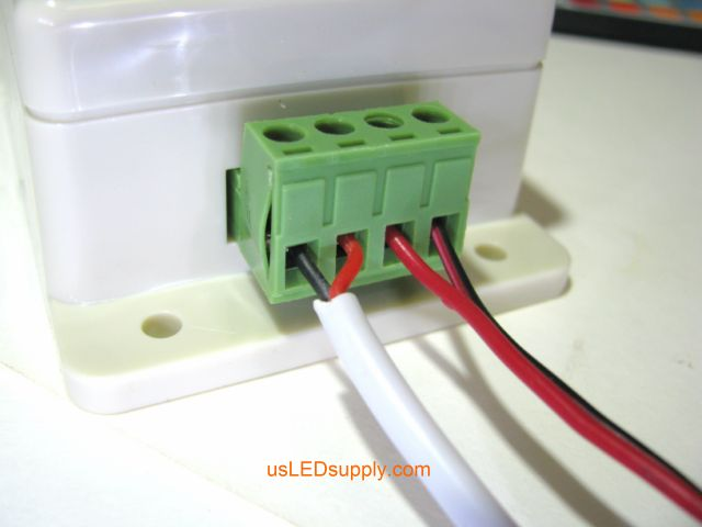 Connect power wires to the terminal block.