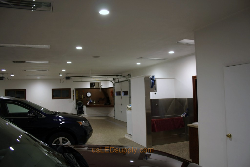 Garage With White Recessed Led Lighting