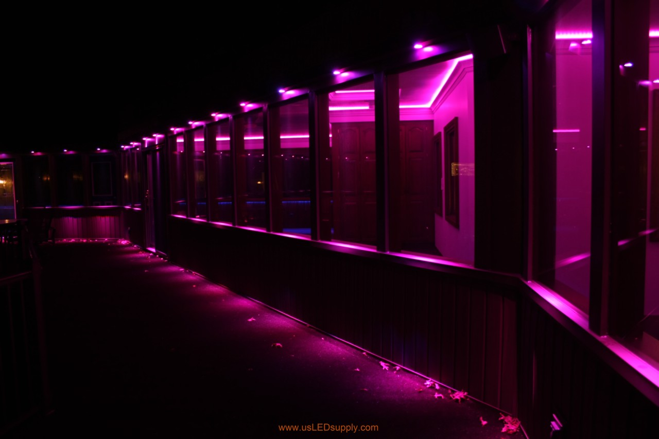 Rgb Led Puck Lights Above Windows Of A Gled In Walkway